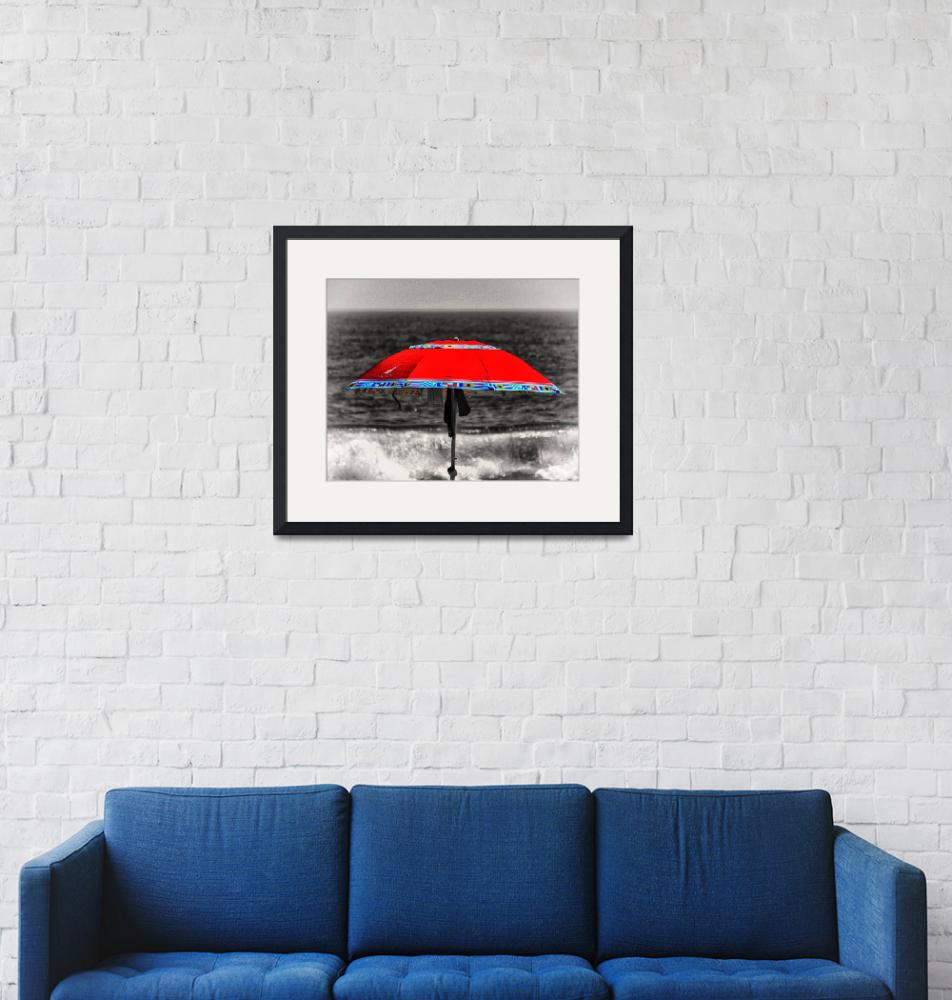 """""""Lonely Red Beach Umbrella""""  by travel"""