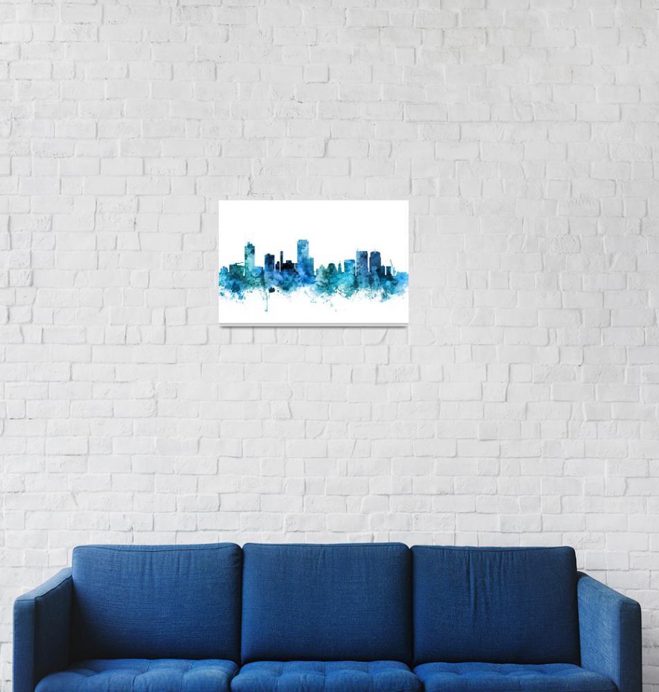 """Wellington New Zealand Skyline""  (2018) by ModernArtPrints"