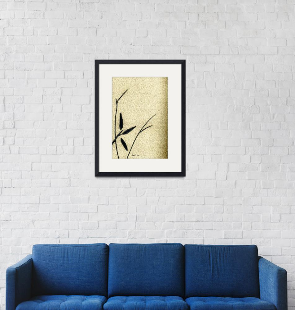 """""""Zen Sumi Antique Flower 4a Ink on Watercolor Paper""""  (2011) by Ricardos"""
