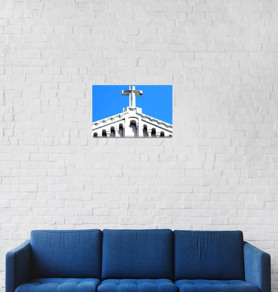 """""""White Cross Blue Sky""""  by ideaproductions"""