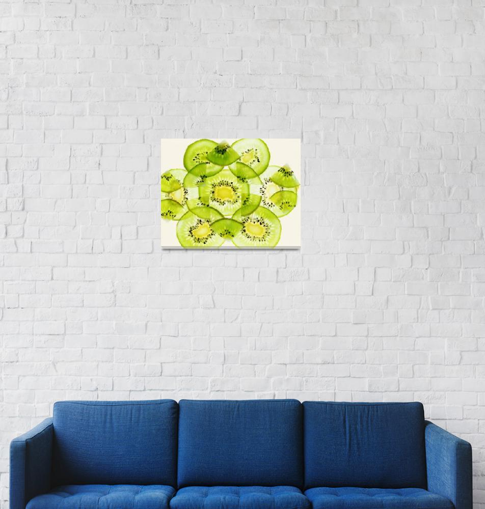 """""""Pieces of kiwi fruit forming a pattern""""  by Panoramic_Images"""