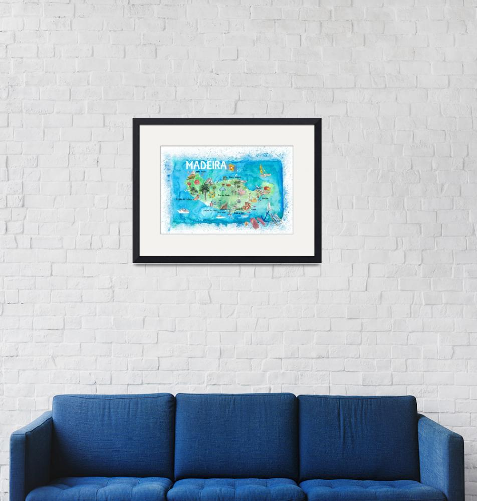 """Madeira Portugal Island Illustrated Map with Landm""  (2020) by arthop77"