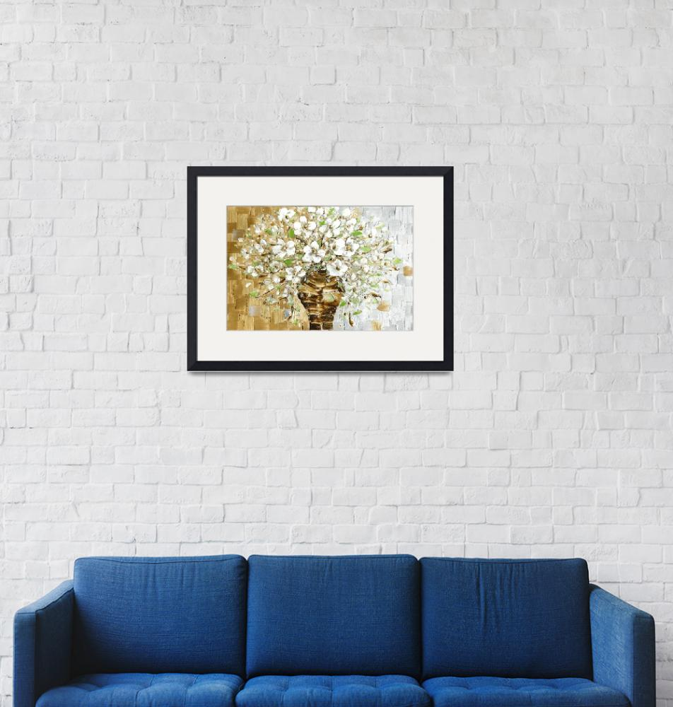 """White Blossoms Contemporary Bouquet Art"" by modernhouseart"