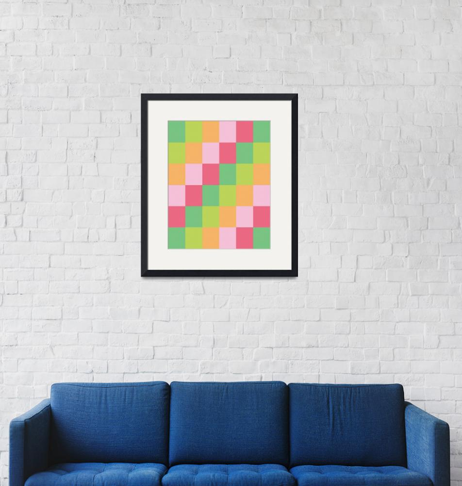"""""""Square Pattern Bright Sorbet Pastel""""  (2021) by ValeriesGallery"""