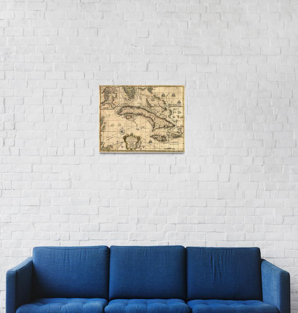 """""""Vintage Map of Cuba (1762)""""  by Alleycatshirts"""