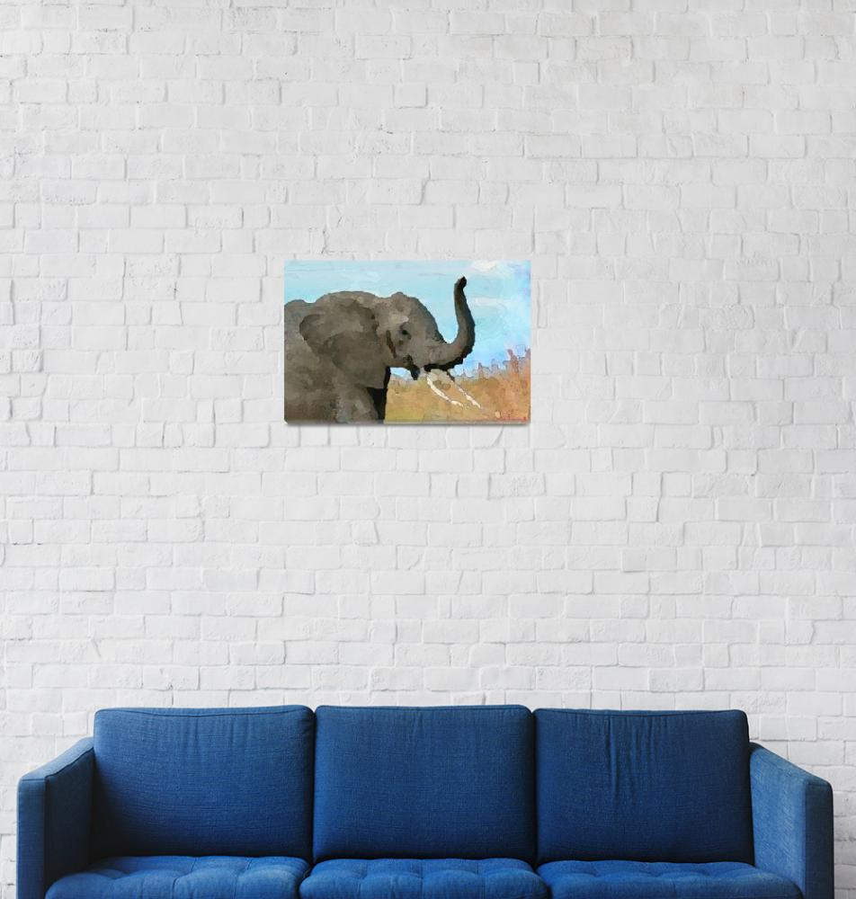 """Baby Elephant BlueSky Abstract""  (2018) by AlbertFurstonabeaIII"