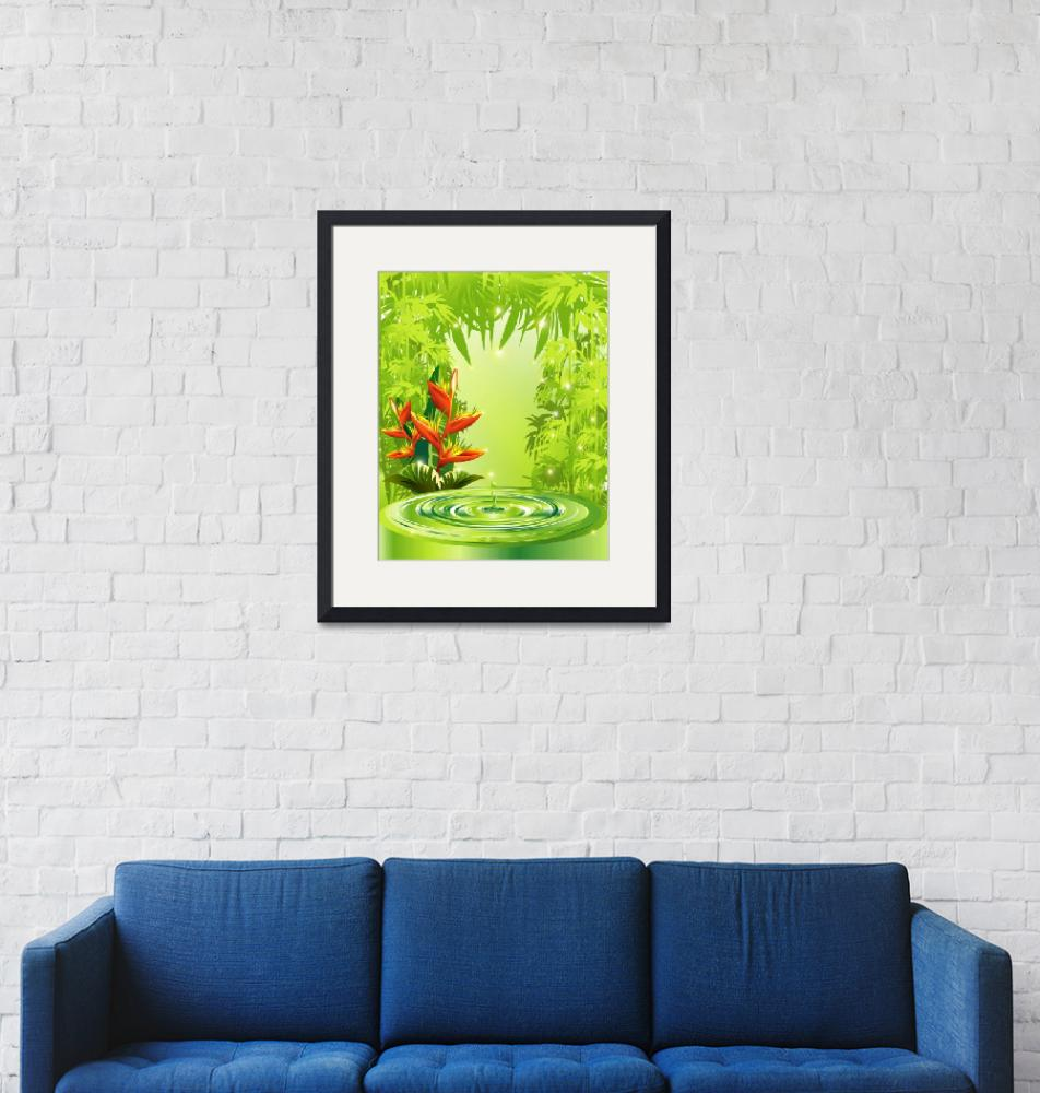 """""""Zen Green Bamboo Heliconias and Water""""  (2011) by BluedarkArt"""