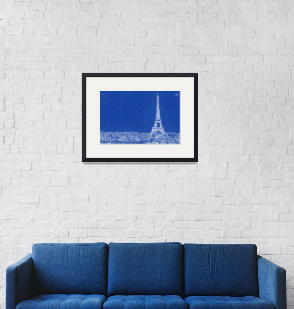 """""""Archtectural Blueprint Drawing - Paris France""""  by motionage"""