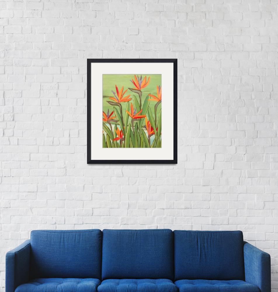 """""""birds of paradise - botanical - plant""""  (2014) by traciebrownart"""