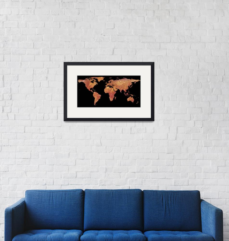 """World Map Silhouette - Crispy Bacon""  by Alleycatshirts"