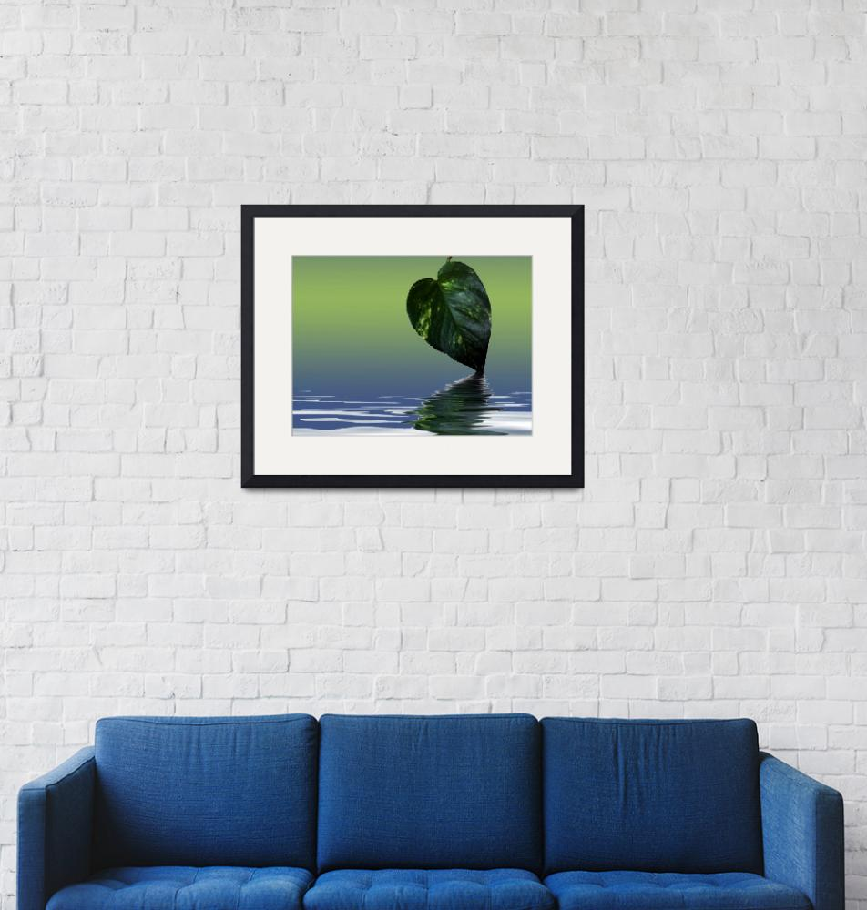 """""""Green Leave reflection poster""""  (2007) by Chatterbox"""