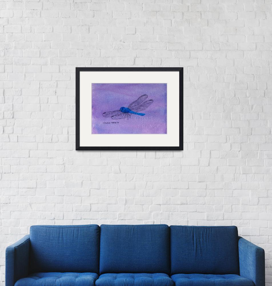 """""""Blue Dragonfly""""  (2010) by PaintedPathWatercolors"""