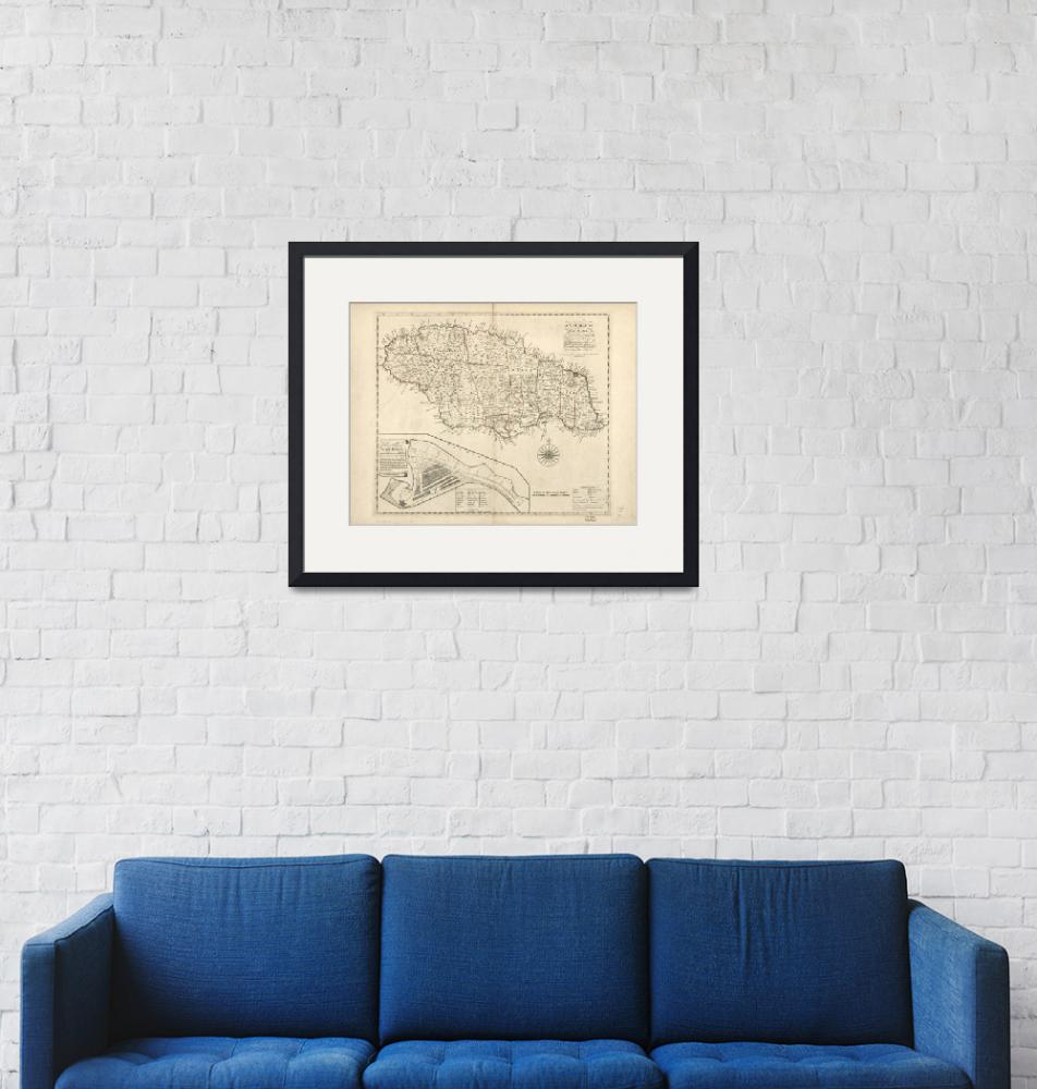 """""""Vintage Map of Jamaica (1771) 2""""  by Alleycatshirts"""