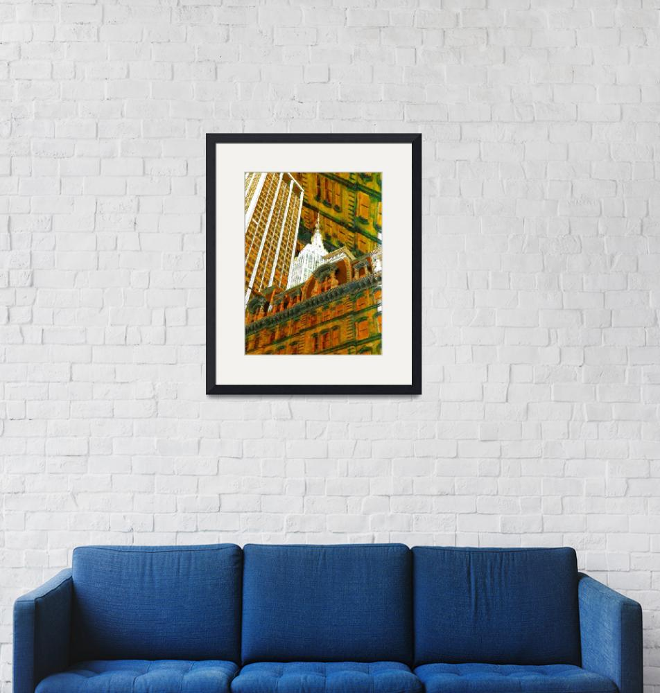 """""""New York City Up Is Down Down Is Up Gold""""  (2018) by RubinoFineArt"""