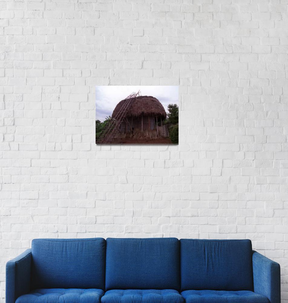 """Hut Under Construction in Bandjoun, Cameroon""  by jaredjared"