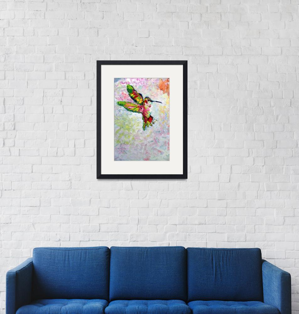 """Hummingbird Modern Impressionist Oil Painting""  (2017) by GinetteCallaway"