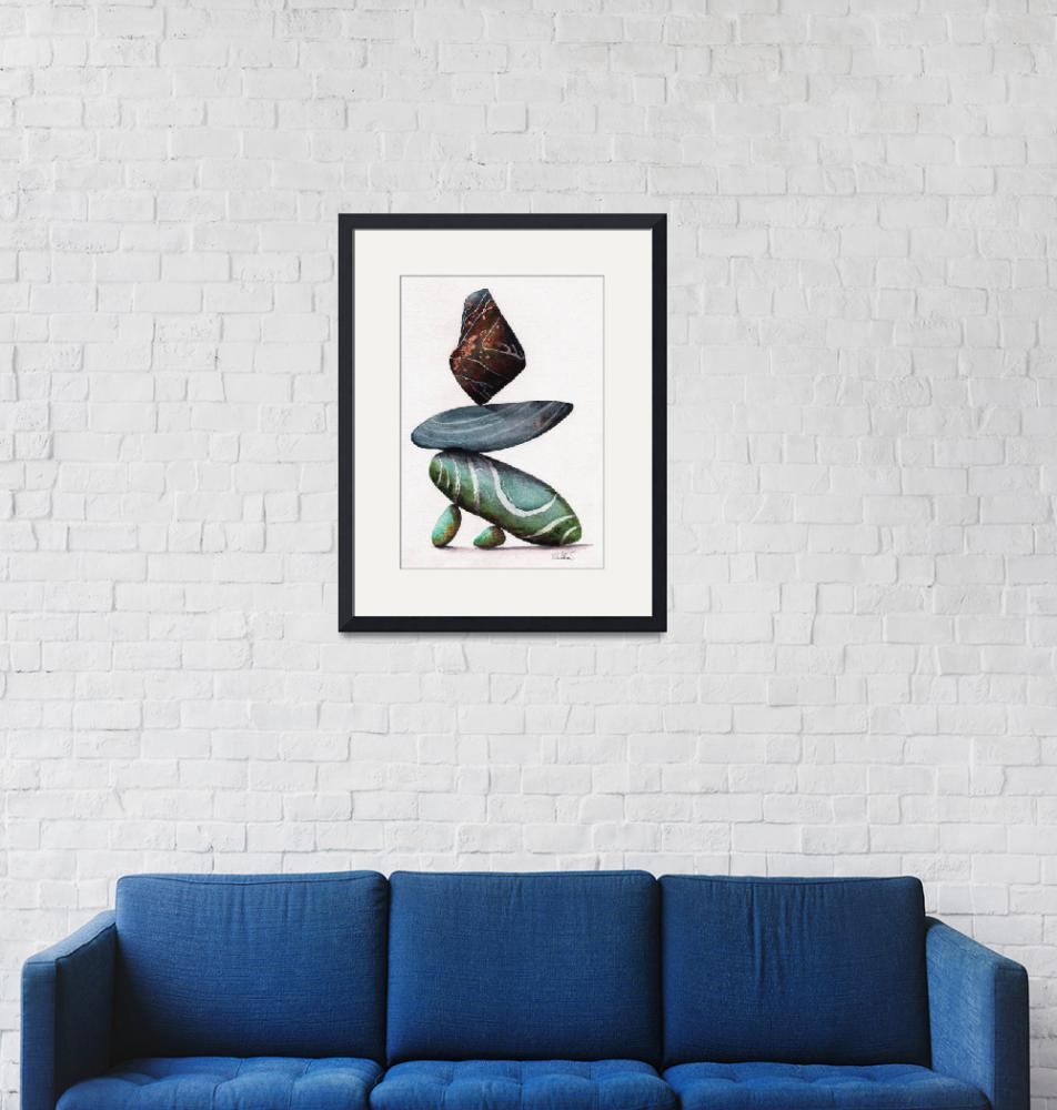 """""""Rock Steady balancing stones painting""""  (2019) by MightyFineArt"""