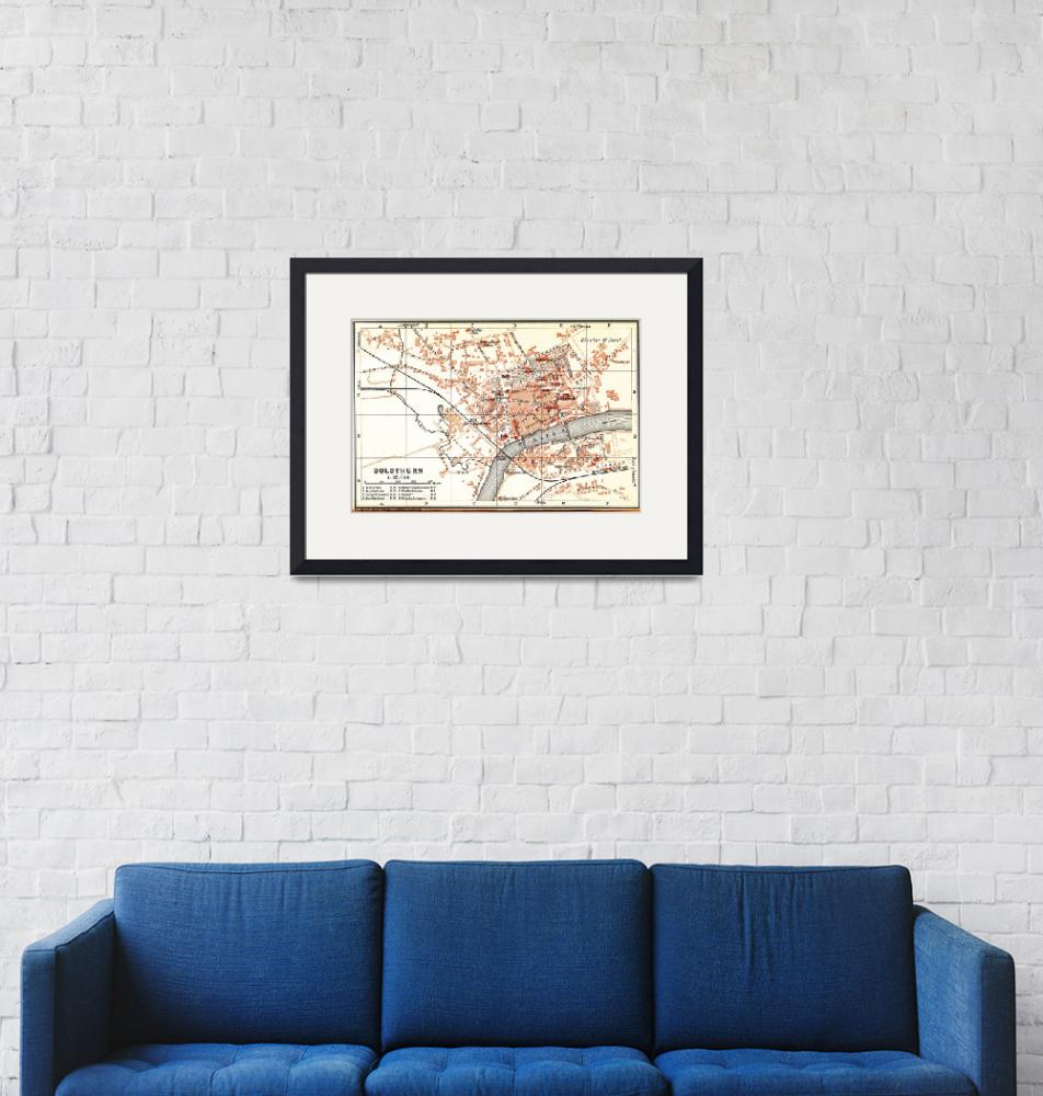 """""""Vintage Map of Solothurn Switzerland (1913)""""  by Alleycatshirts"""