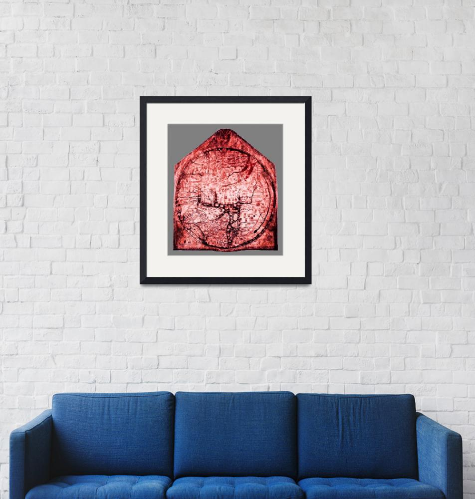 """Hereford Mappa Mundi  Red Tint Small Grey Border""  (2014) by TheNorthernTerritory"
