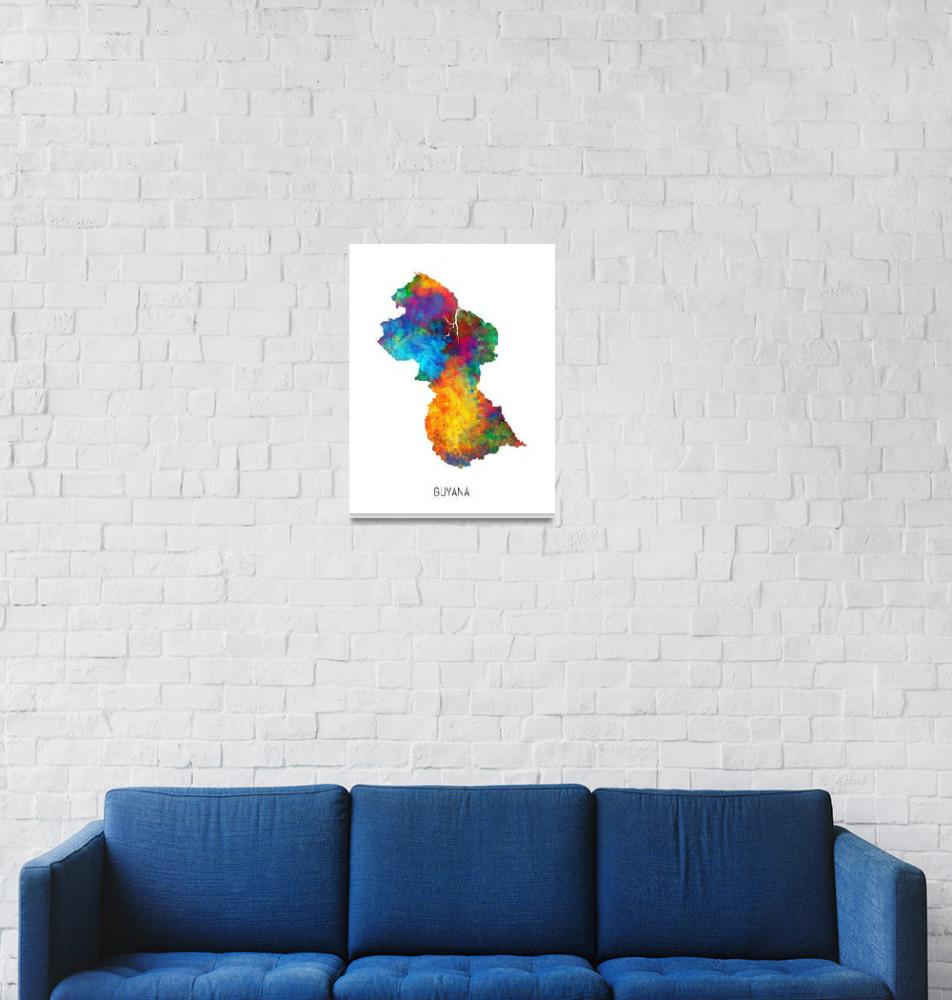 """Guyana Watercolor Map""  (2019) by ModernArtPrints"
