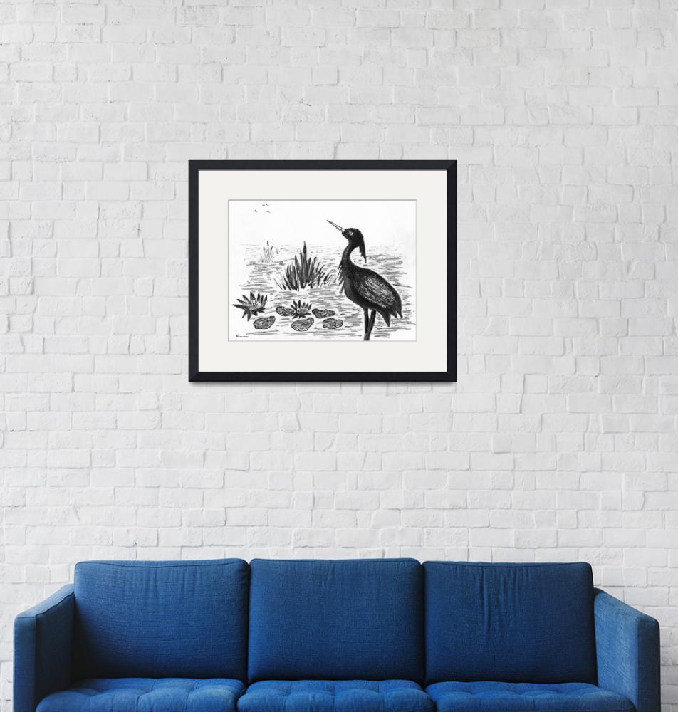 """""""Crowned Night Heron Lily Pond Paradise in Ink D1""""  (2015) by Ricardos"""