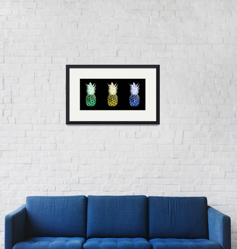 """Triptych 14V Artistic Pineapple Green Yellow Blue""  (2016) by Ricardos"