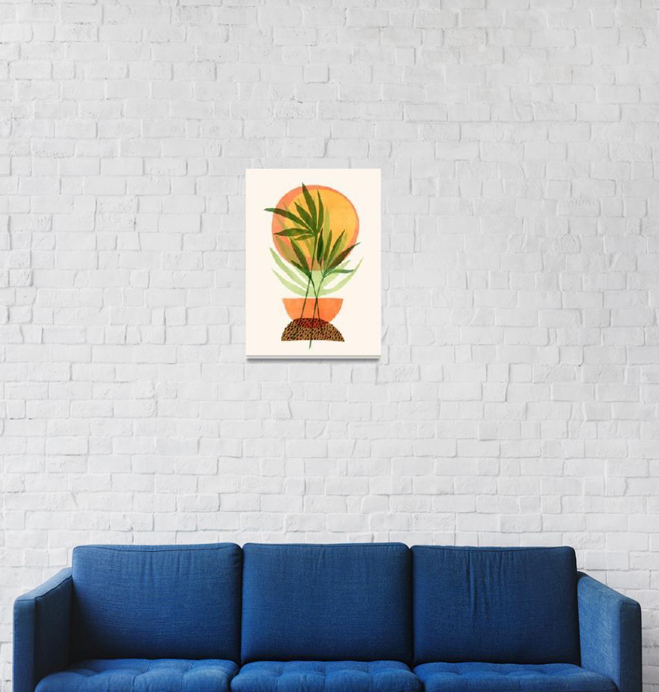 """Retro Sunset Garden""  (2019) by moderntropical"