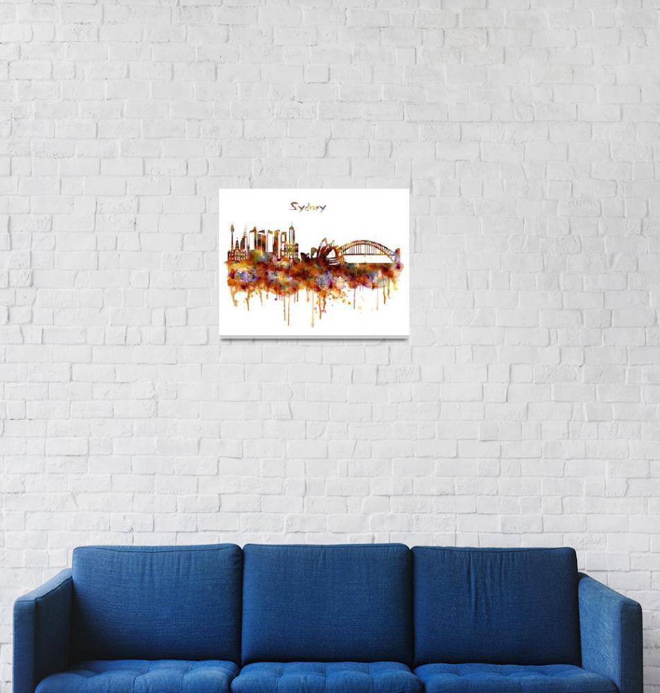 """Sydney Watercolor Skyline""  (2015) by MarianVoicu"