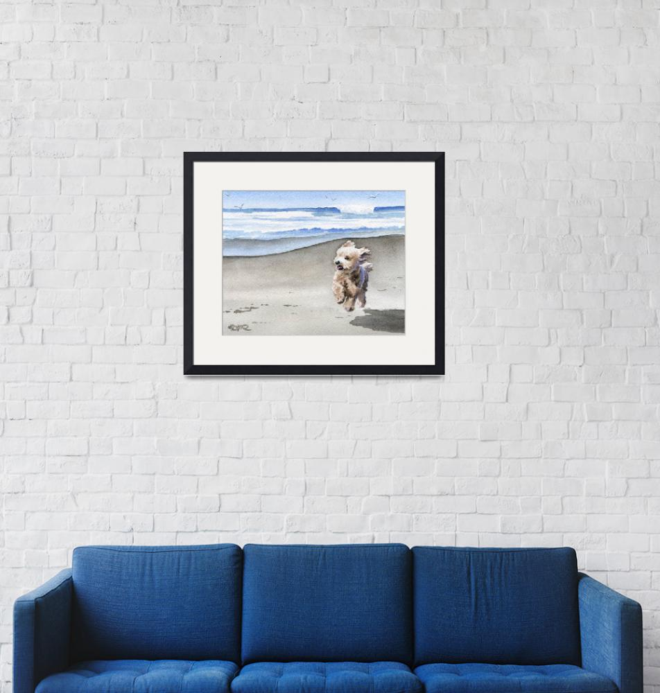 """""""Apricot Poodle at the Beach""""  (2015) by k9artgallery"""