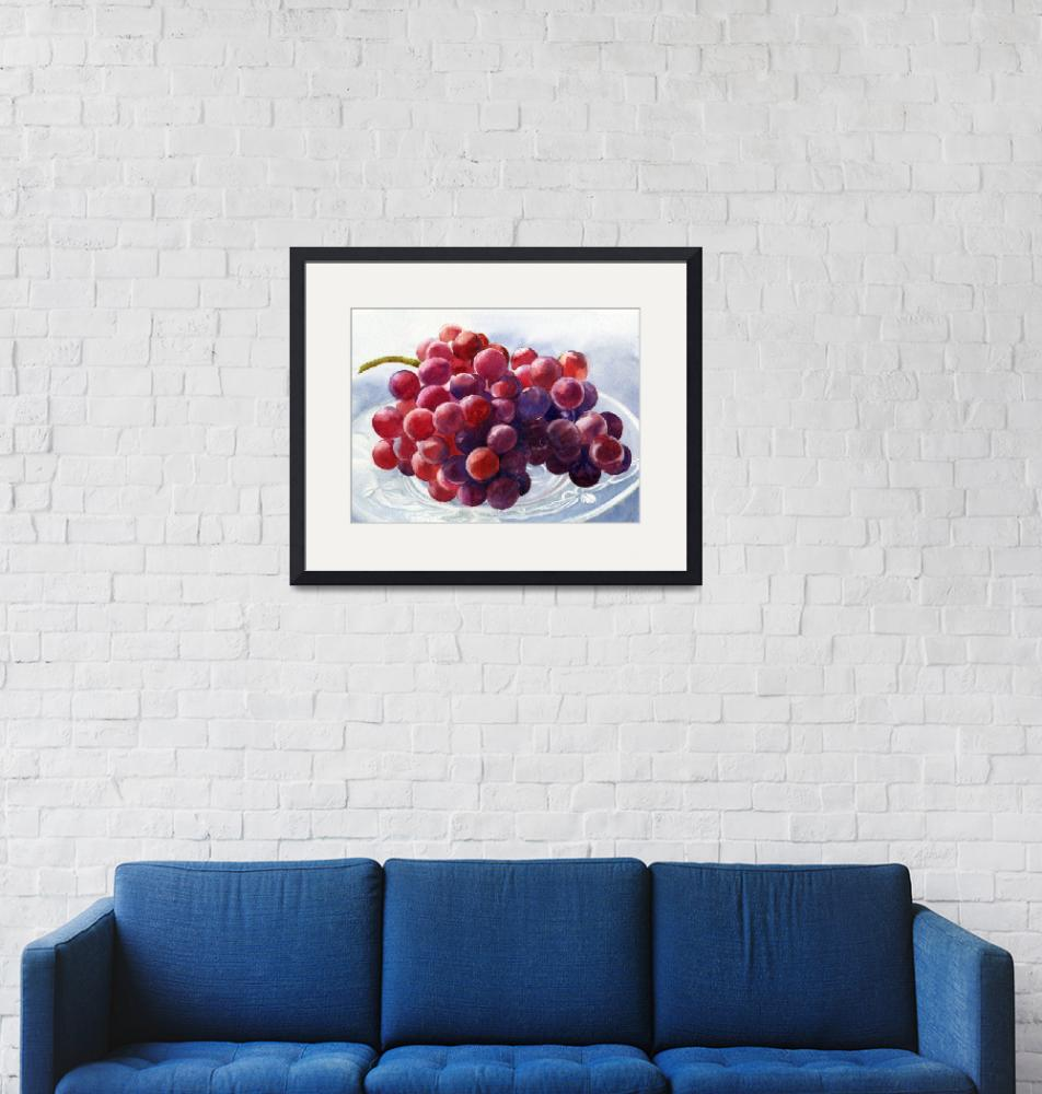 """""""Red Grapes on a Plate""""  (2013) by Pacific-NW-Watercolors"""