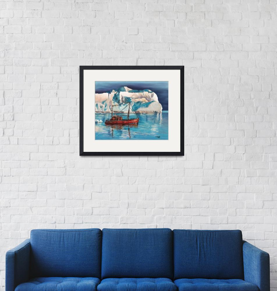 """""""Original oil painting Iceberg and tug boat""""  (2018) by yuezeng"""