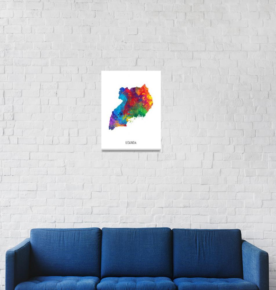 """Uganda Watercolor Map""  (2019) by ModernArtPrints"