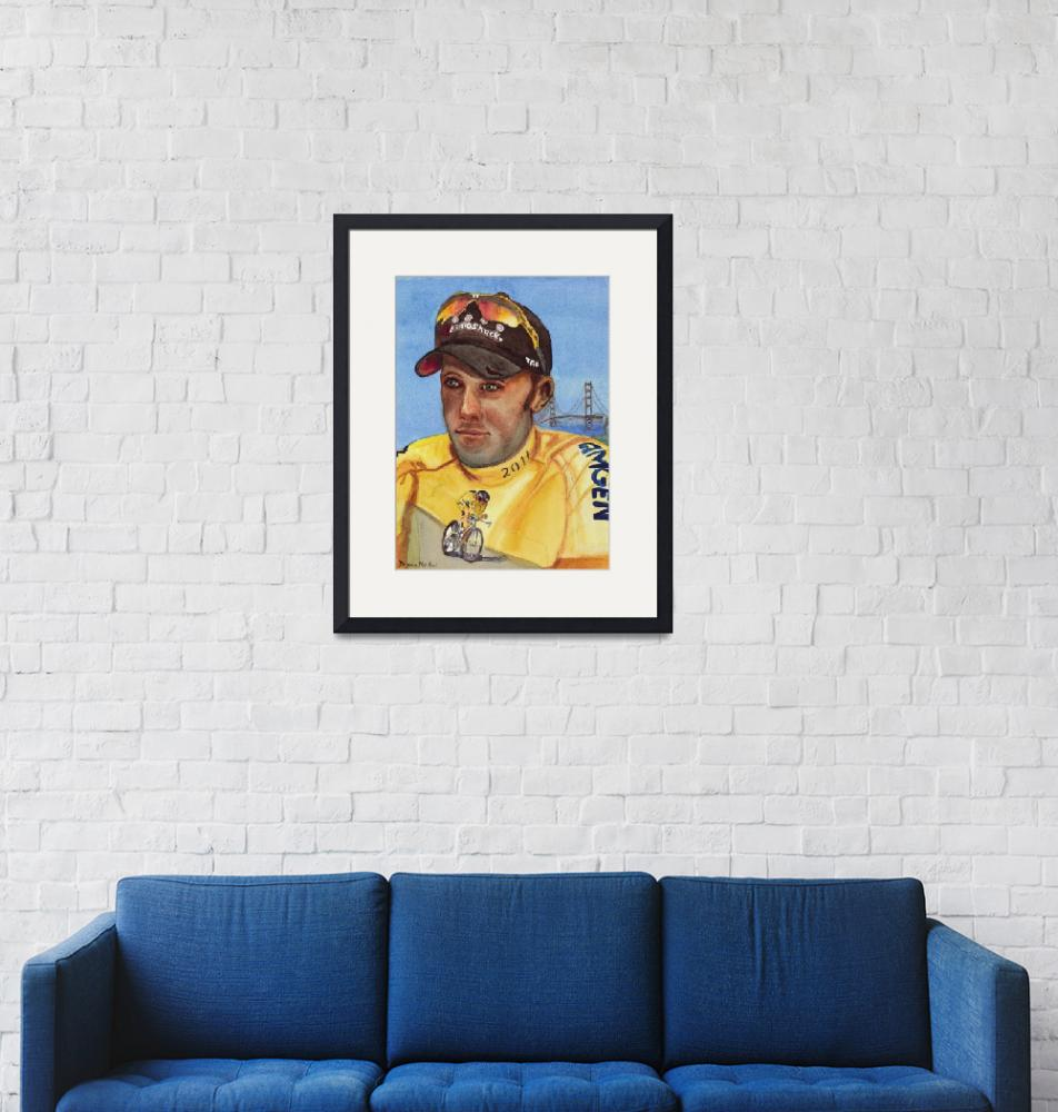 """""""Wearing the Yellow Jersey Chris Horner""""  (2012) by DianaNadalFineArt"""
