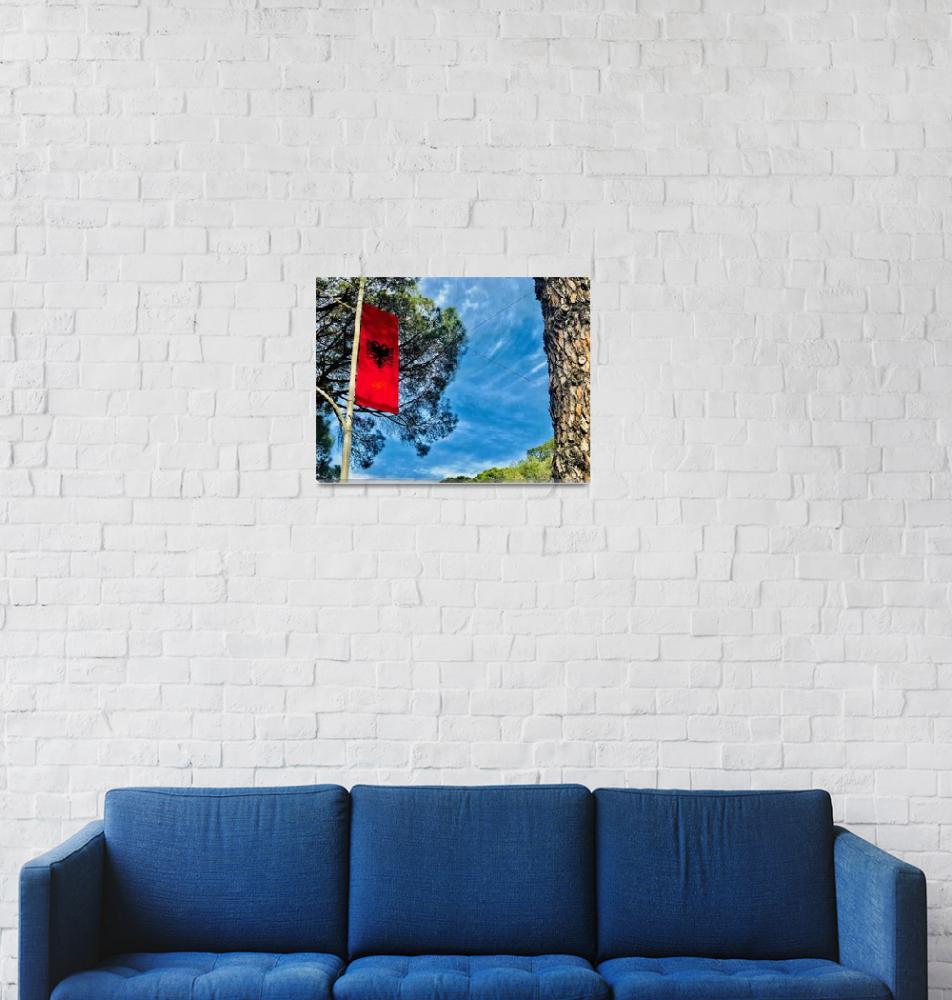 """""""The Flag of Albania""""  (2018) by travelparkamonkeymatt"""