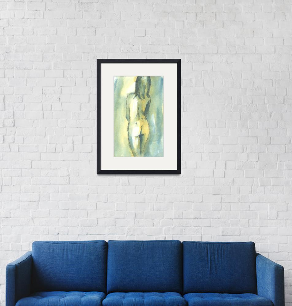 """Teal and Yellow Female Nude Study""  (2008) by tolunart"