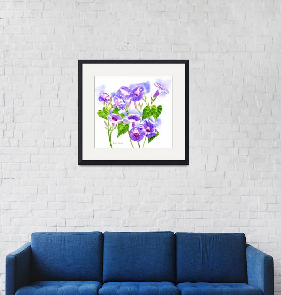 """Lavender Morning Glory Flowers""  (2014) by Pacific-NW-Watercolors"