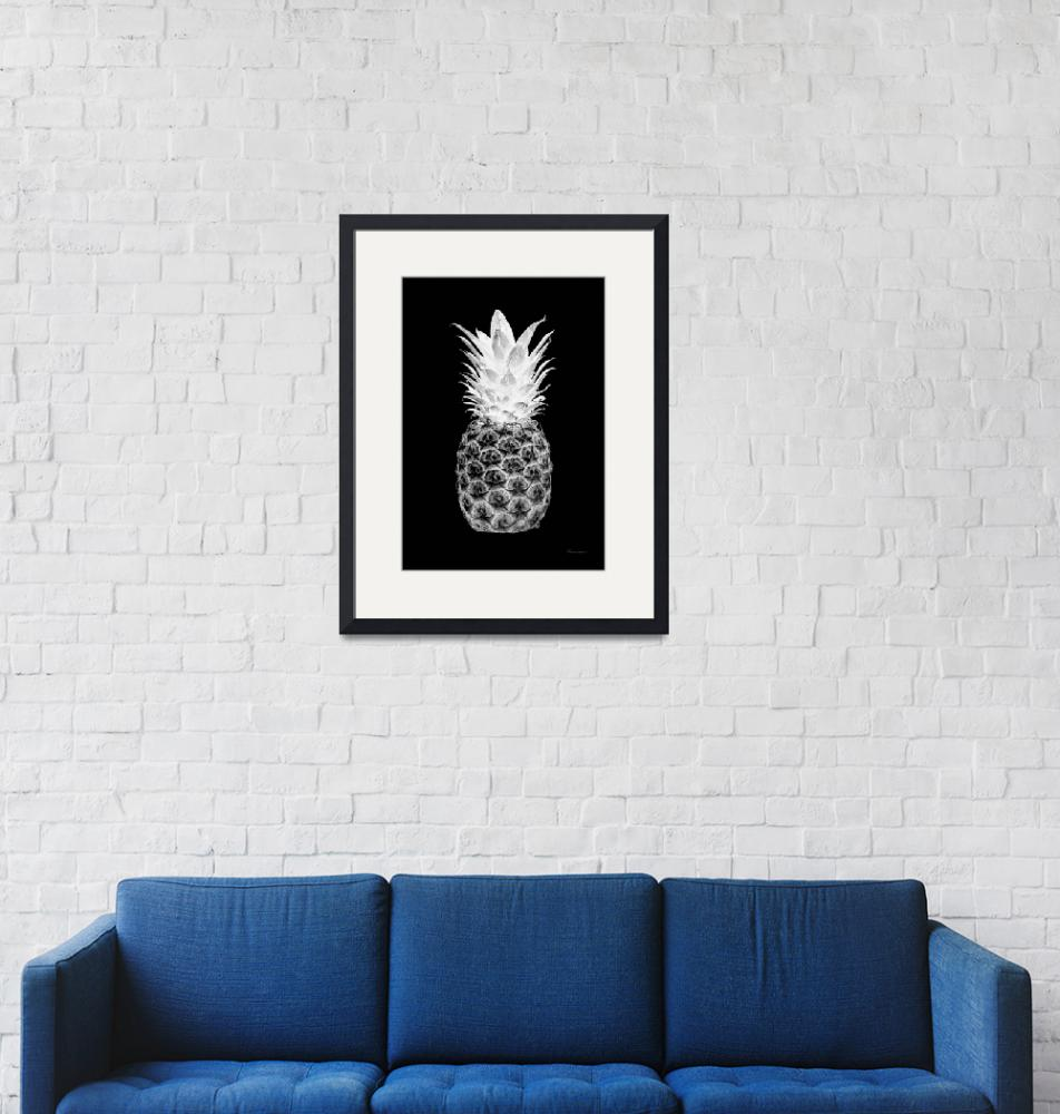 """14T Artistic Glowing Pineapple Digital Art Black""  (2017) by Ricardos"