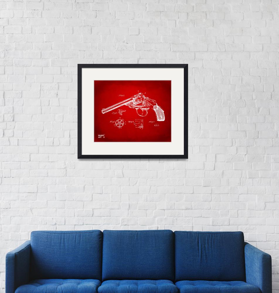 """""""Wesson 1889 Revolver Patent Minimal Red""""  (2014) by nikkismith"""