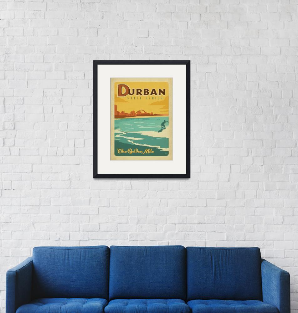 """""""Durban, South Africa Retro Travel Poster""""  by artlicensing"""