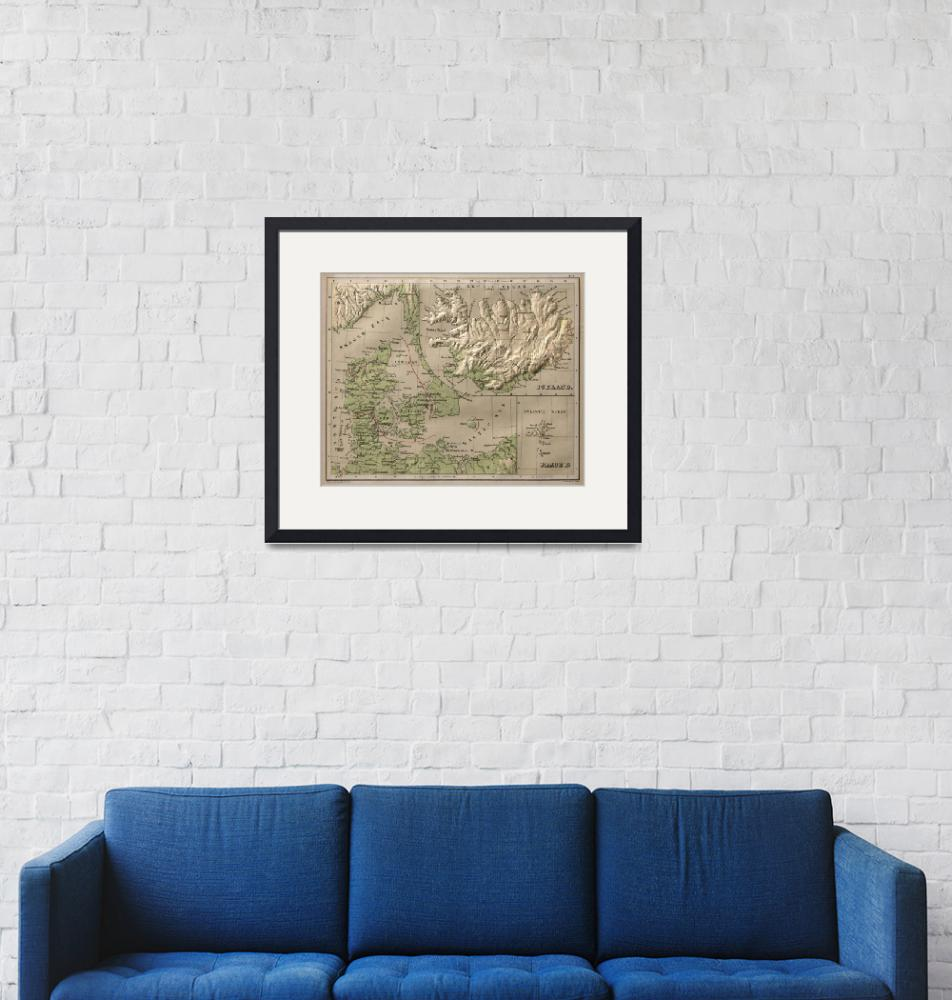 """Vintage Iceland and Denmark Physical Map (1880)""  by Alleycatshirts"
