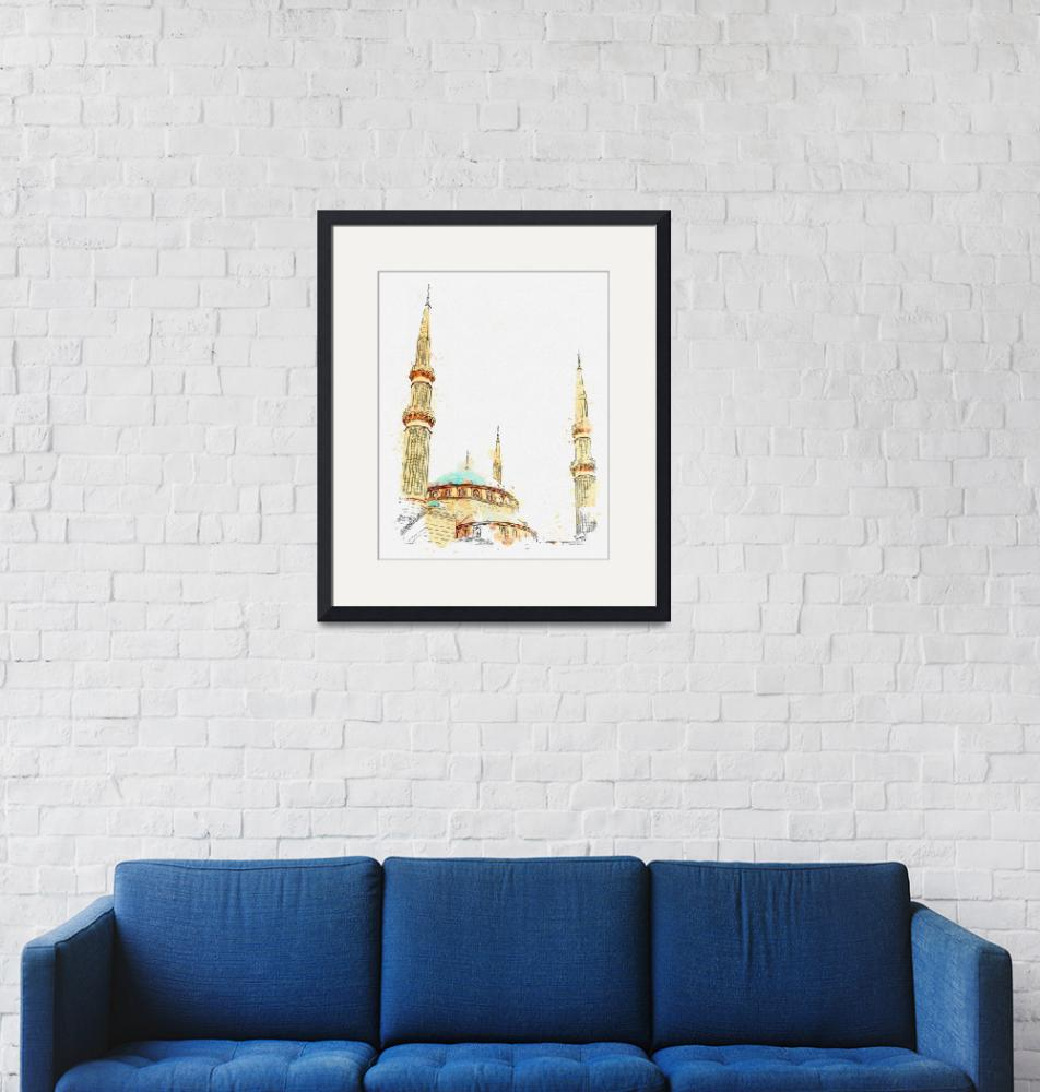 """""""Mosque, Beirut, Lebanon  c2019,  c2019, watercolor""""  by motionage"""