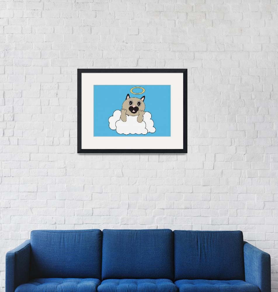 """""""Angel Cat on Cloud""""  (2011) by ValeriesGallery"""