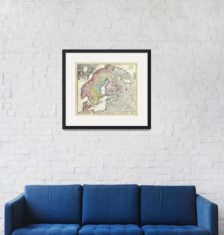 """Map of Scandinavia and the Baltics by Homann""  by FineArtClassics"