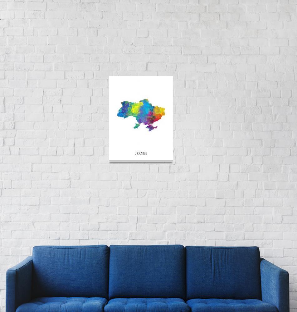 """Ukraine Watercolor Map""  (2019) by ModernArtPrints"