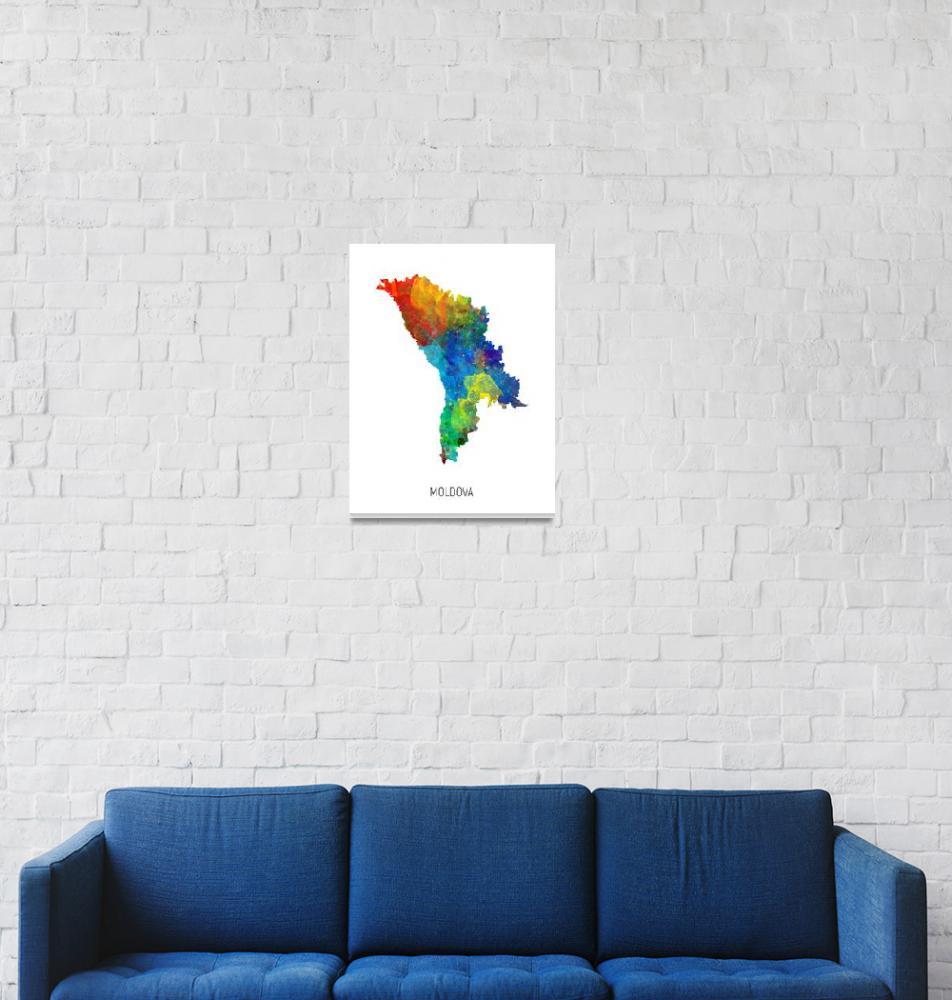 """Moldova Watercolor Map""  (2019) by ModernArtPrints"