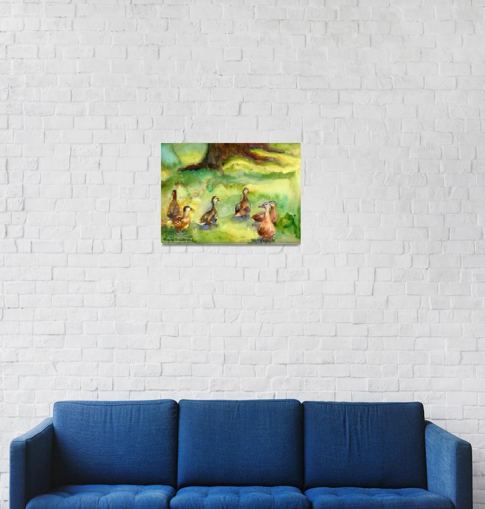 """Duck Meadow, Animal Art, Watercolor Painting""  (2006) by schulmanart"