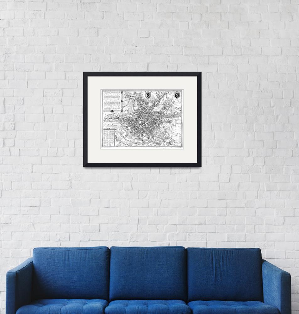 """""""Vintage Map of Ghent Belgium (1650) BW""""  by Alleycatshirts"""