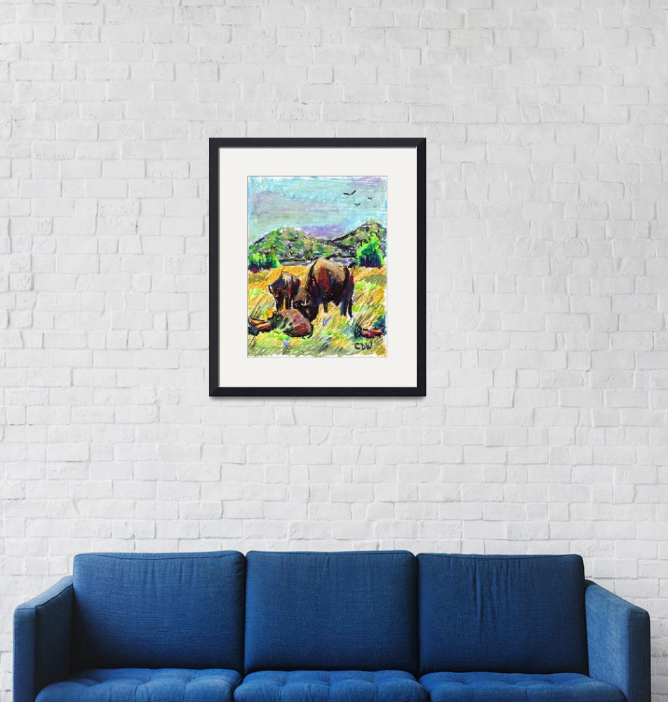 """""""Buffalo near Fort Sill""""  (2009) by CatherineDWright"""