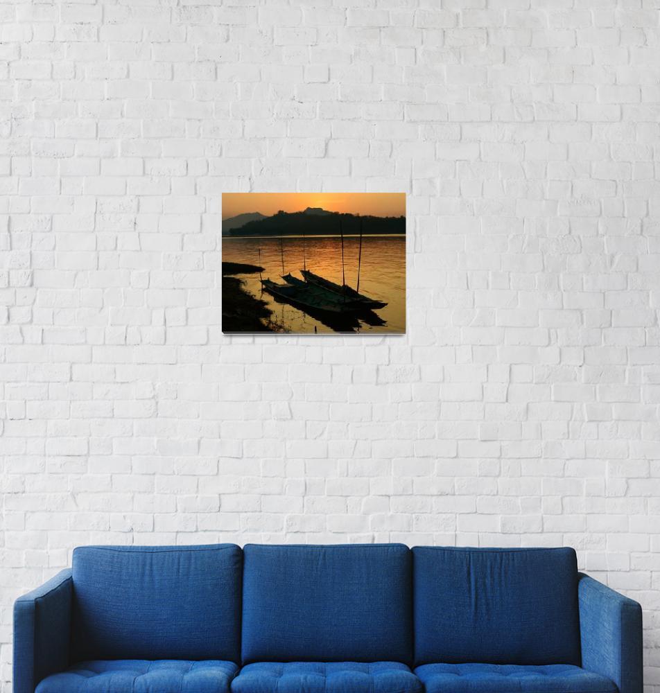 """canoes,Mekong""  (2010) by dansland"