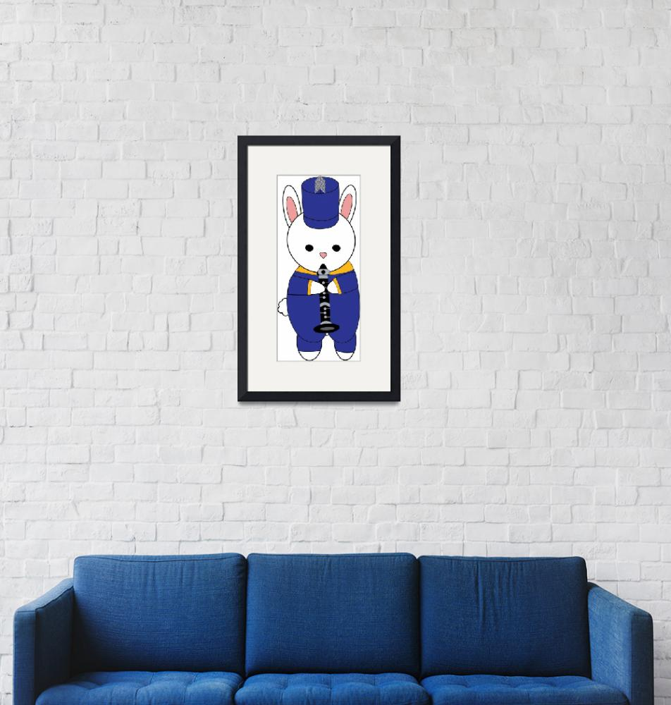 """""""Bunny Rabbit Marching Band Clarinet Blue Yellow""""  (2020) by ValeriesGallery"""